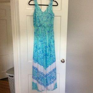 VIneyard Vines Palm Leaf Scarf Print Dress Maxi 00